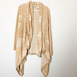 Anthropologie Moth Tan Drape Cardigan Oversized S